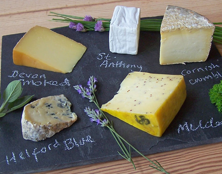 Image of a selection of local cheeses made in the South West